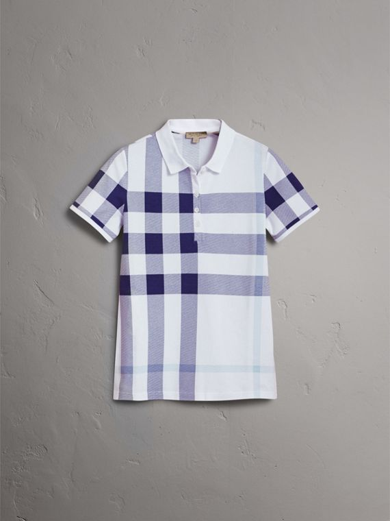 Check Stretch Cotton Piqué Polo Shirt in Pale Blue - Women | Burberry - cell image 3