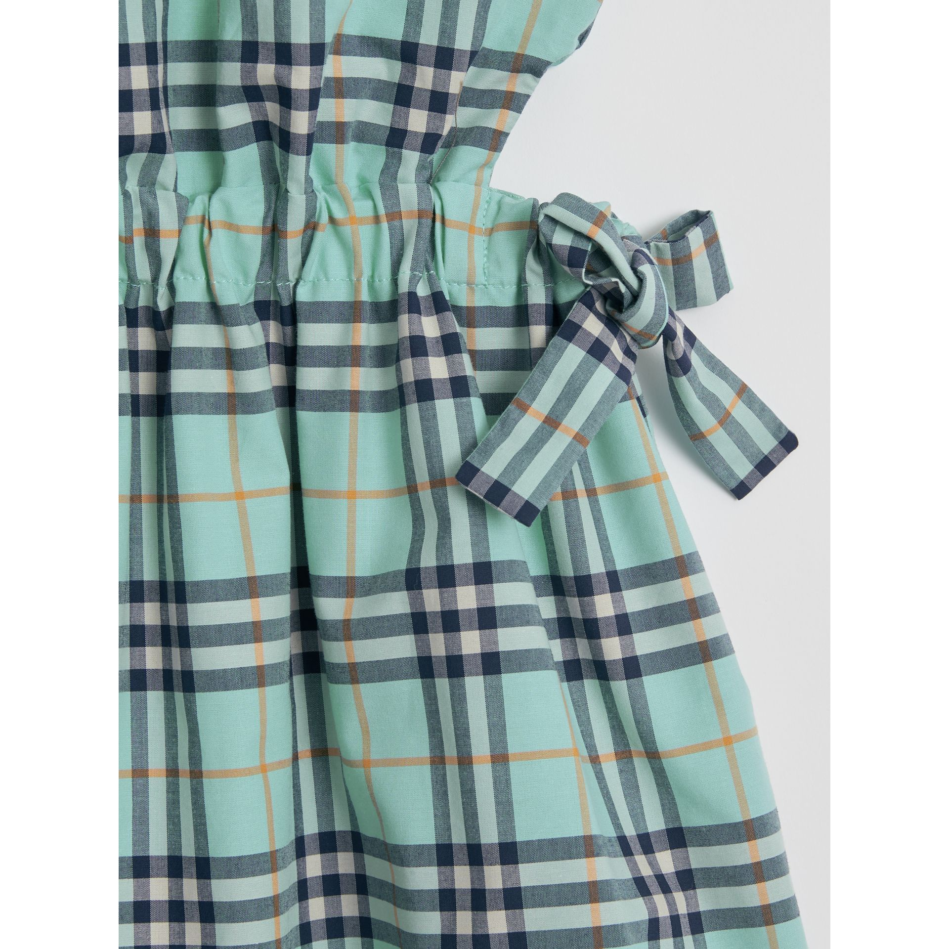 Tie Detail Check Cotton Dress in Bright Aqua | Burberry - gallery image 1