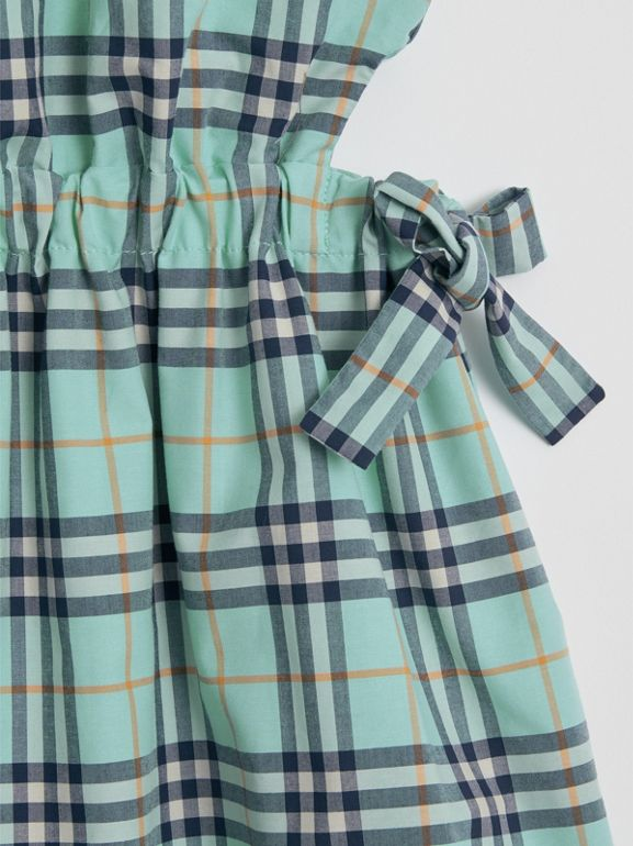 Tie Detail Check Cotton Dress in Bright Aqua | Burberry - cell image 1