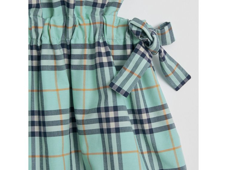 Tie Detail Check Cotton Dress in Bright Aqua - Girl | Burberry - cell image 1