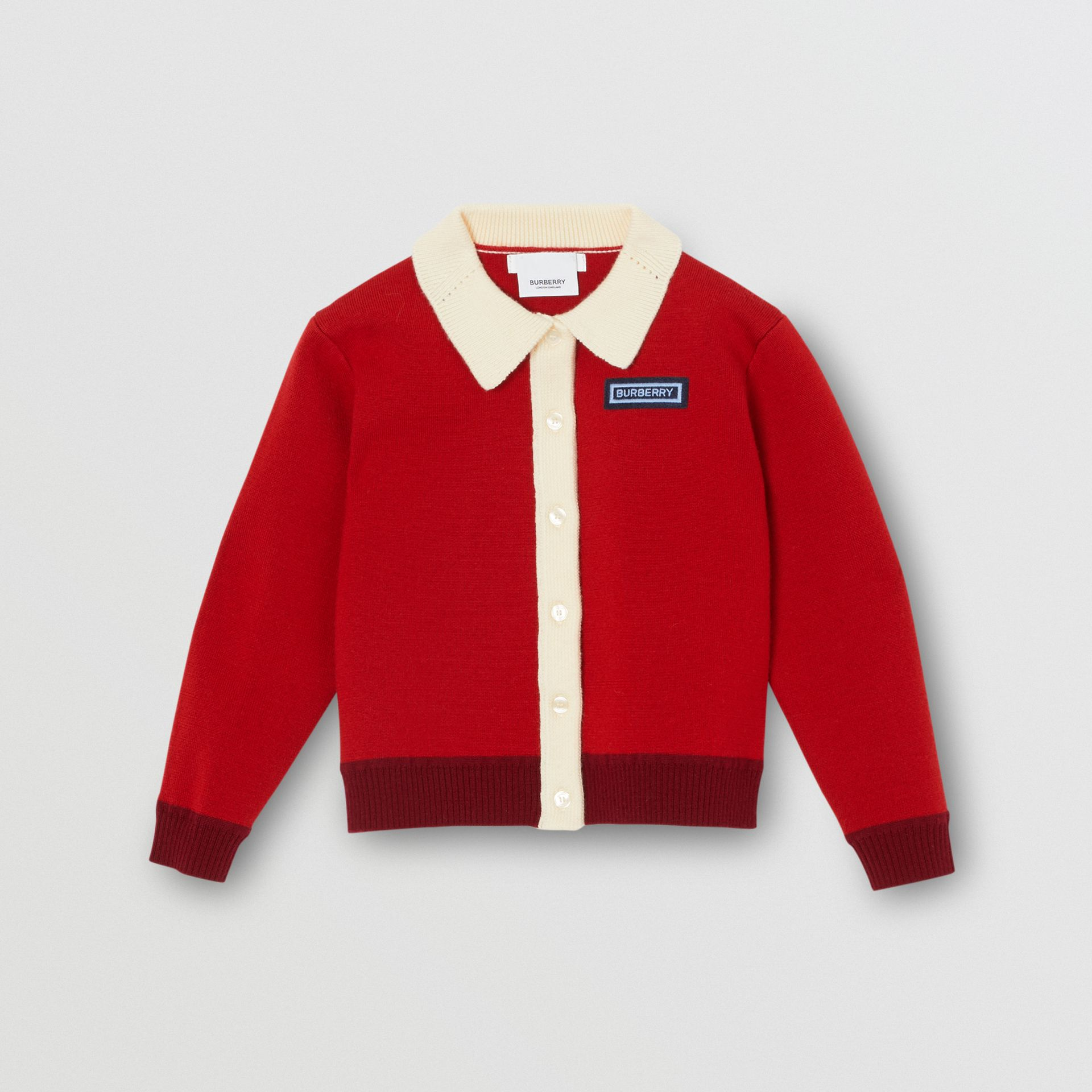 Logo Detail Merino Wool Blend Cardigan in Bright Red | Burberry - gallery image 0