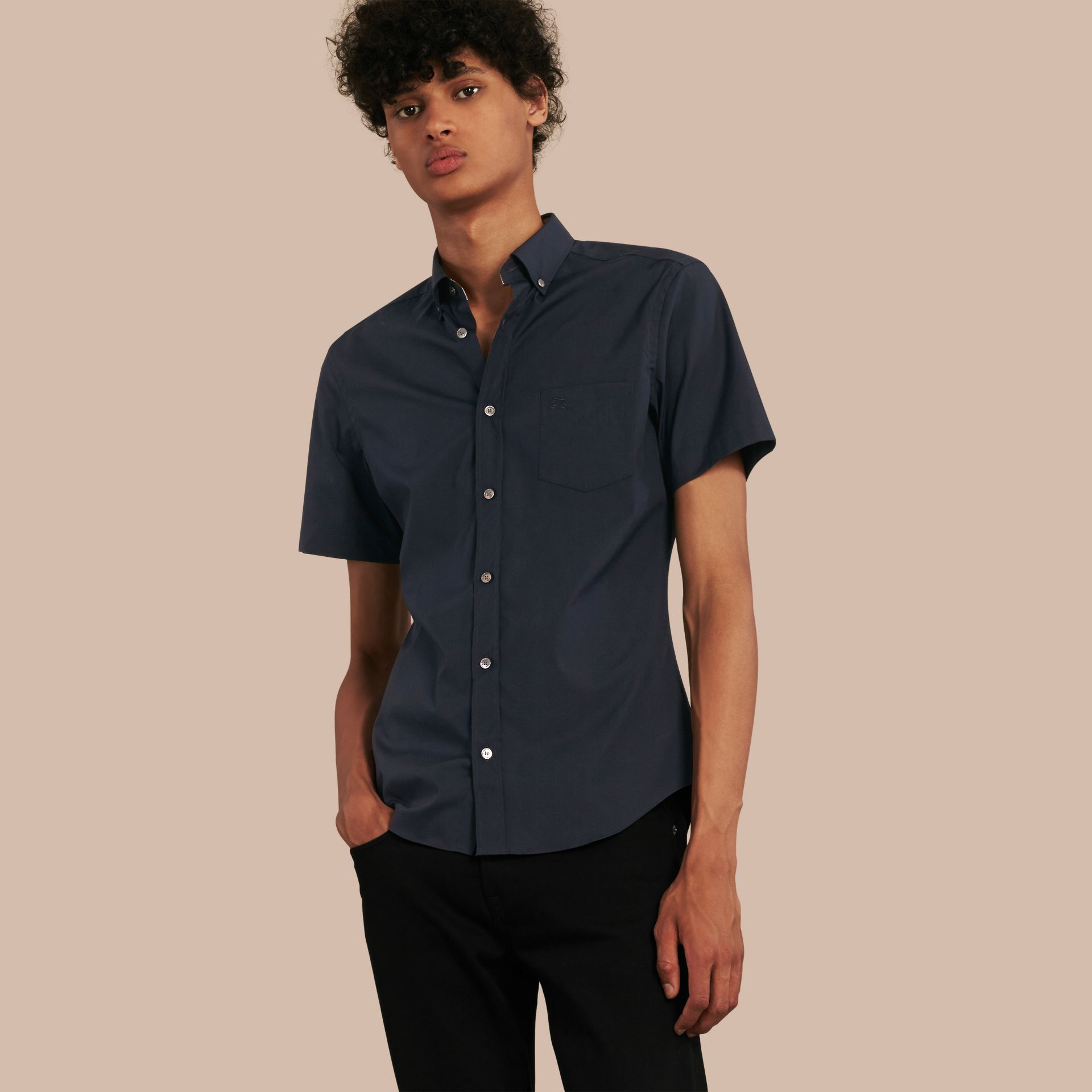 Short-sleeved Stretch Cotton Poplin Shirt in Navy - gallery image 1
