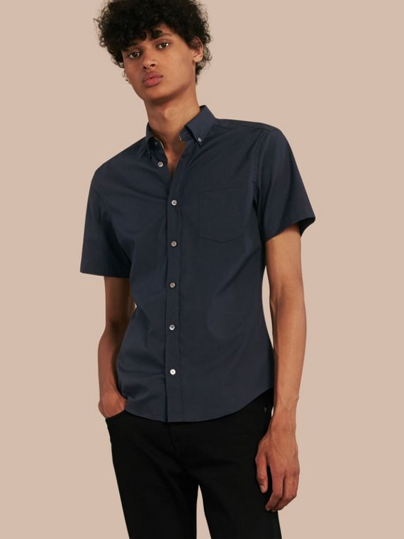 Short-sleeved Stretch Cotton Poplin Shirt in Navy - Men | Burberry Hong Kong