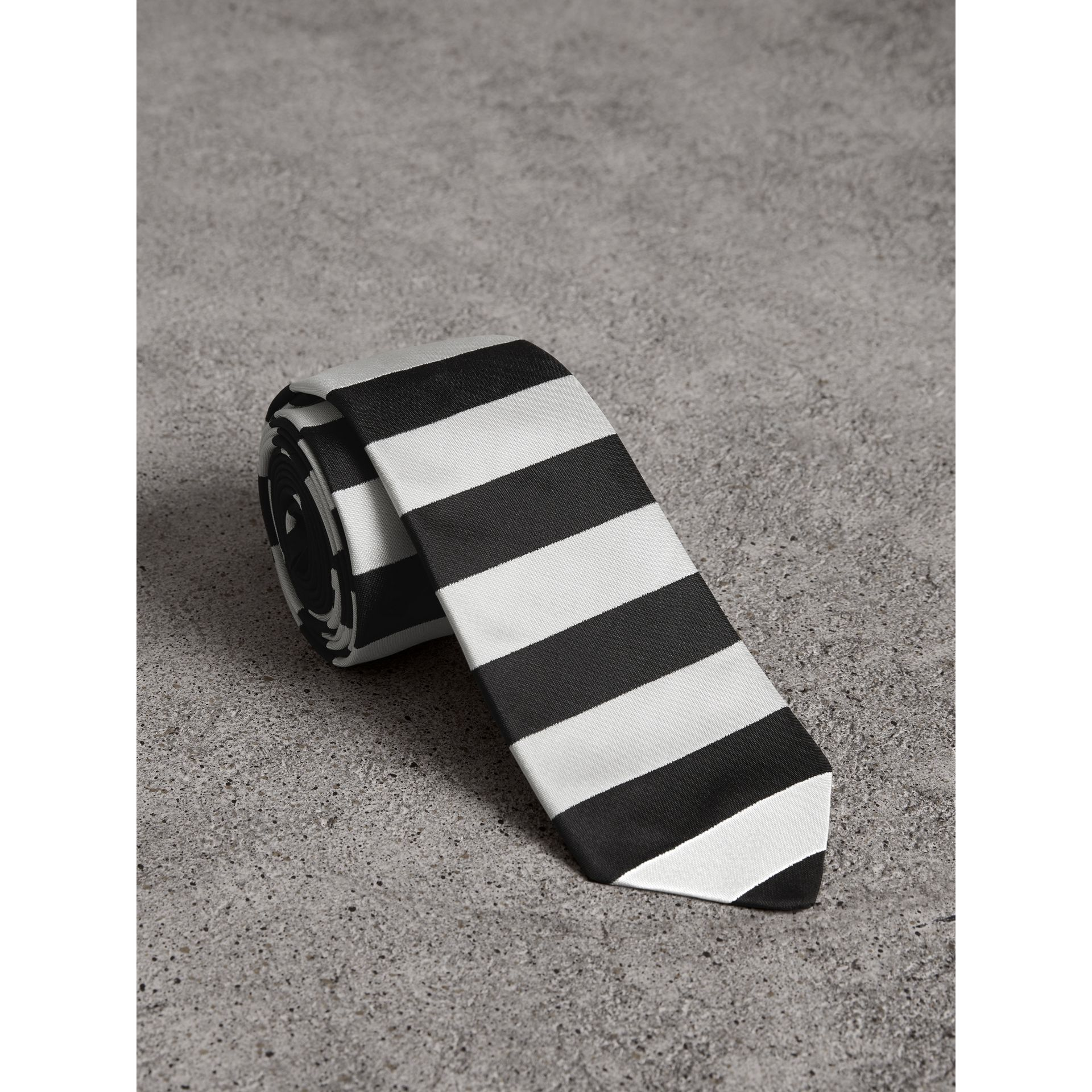 Slim Cut Striped Silk Twill Tie in Black - Men | Burberry - gallery image 1