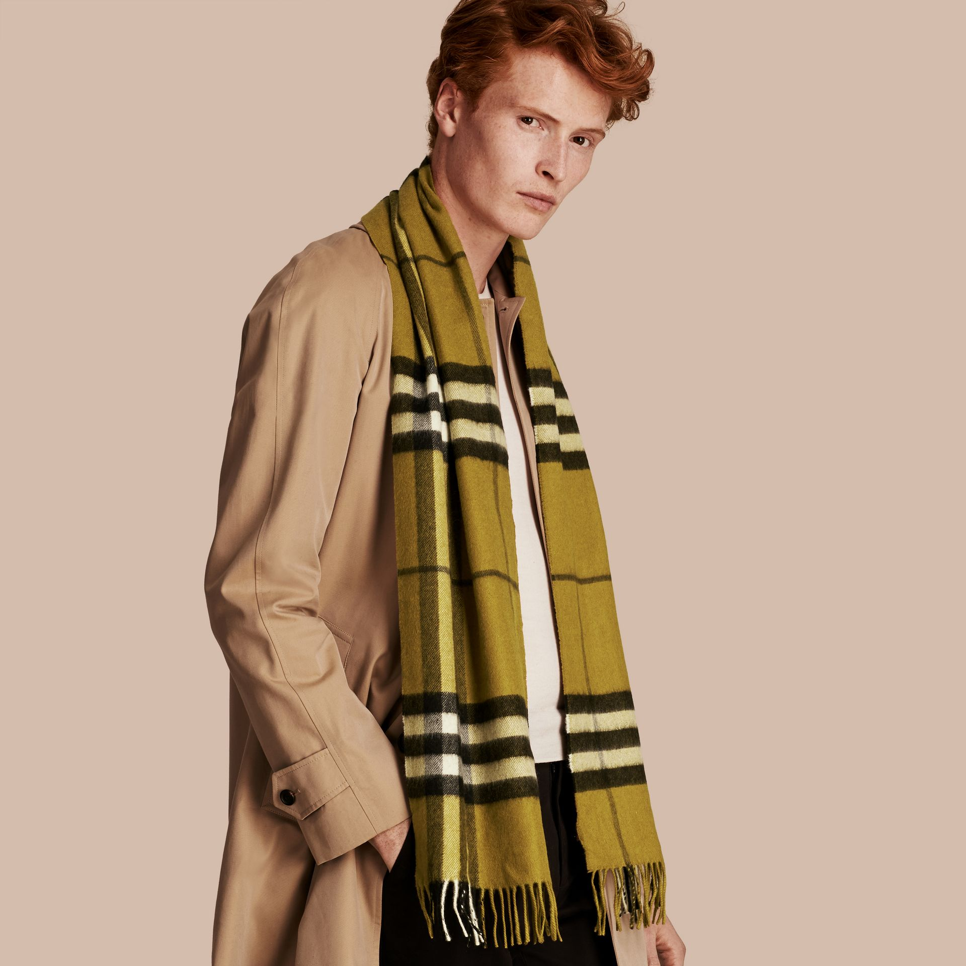The Classic Cashmere Scarf in Check in Dark Lime - gallery image 4