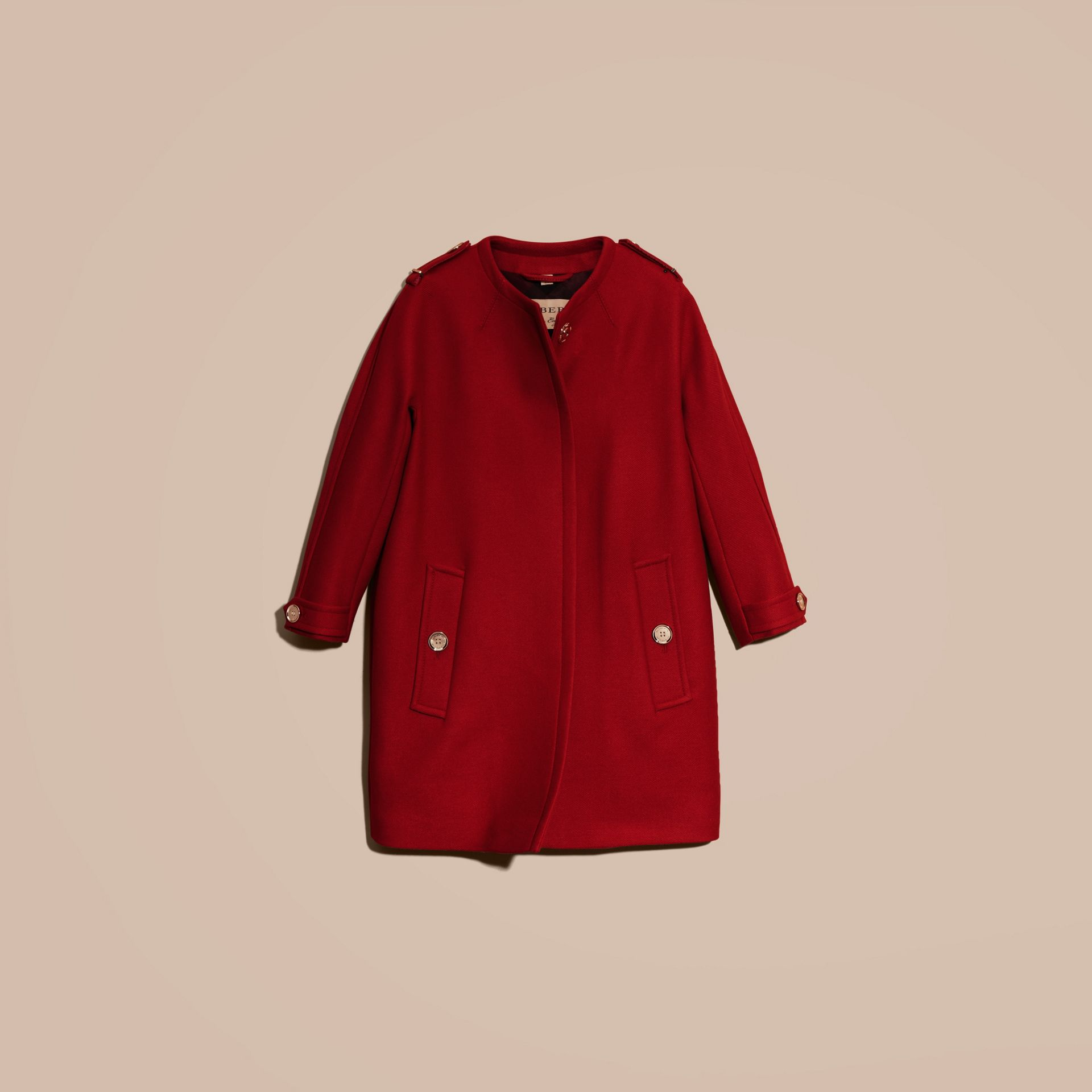 Parade red Technical Wool Cashmere Collarless Coat Parade Red - gallery image 4