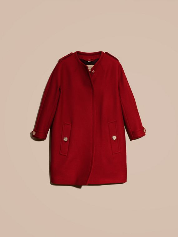 Parade red Technical Wool Cashmere Collarless Coat Parade Red - cell image 3
