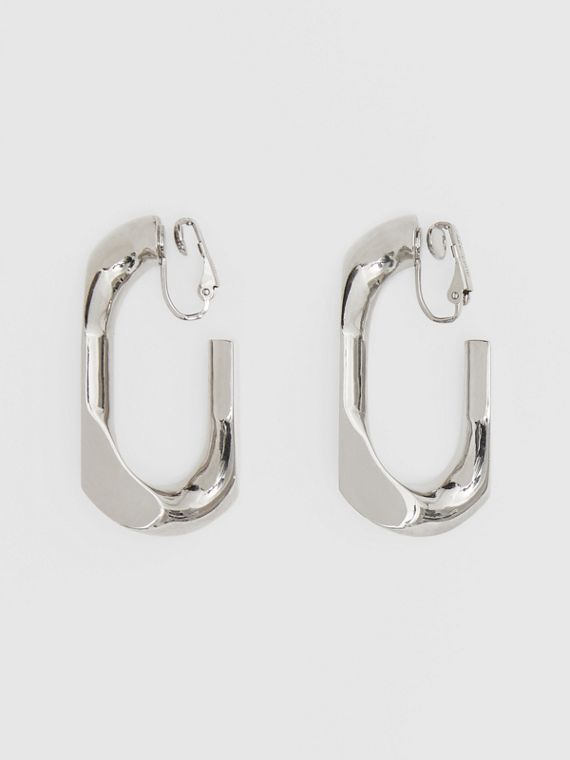 Large Palladium-plated Chain Link Earrings in Palladio