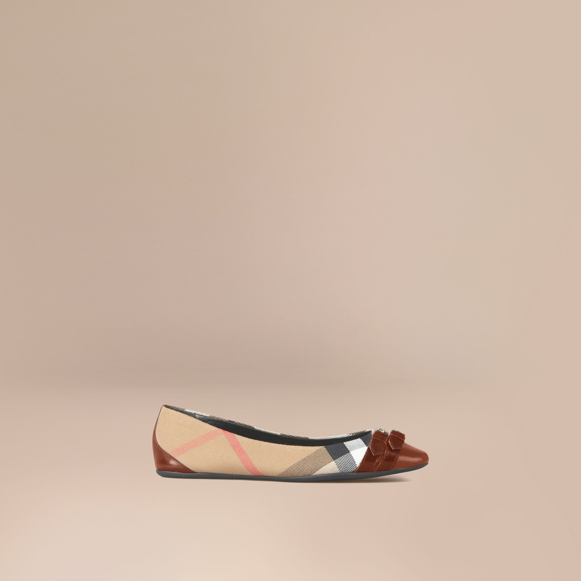 Bridle House Check Ballerinas in Dark Tan - gallery image 1