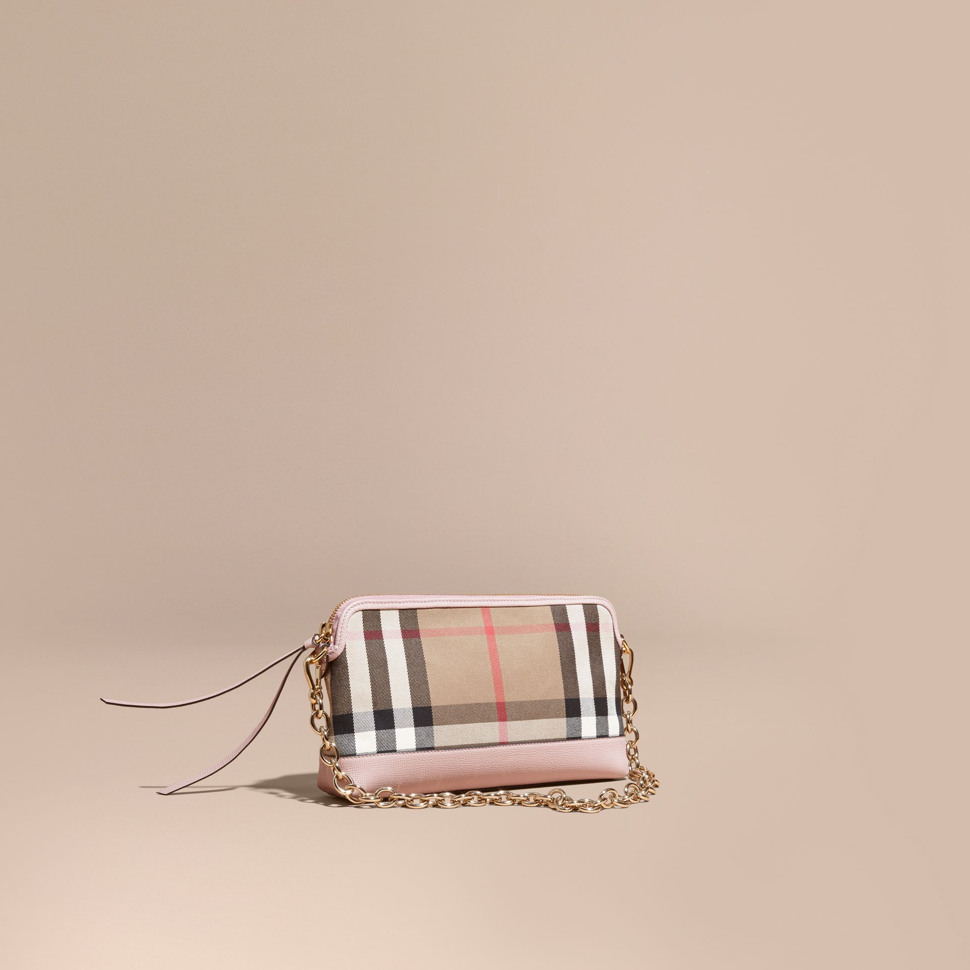 House Check and Leather Clutch Bag in Pale Orchid - Women | Burberry Australia - gallery image 1