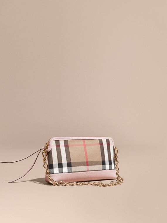House Check and Leather Clutch Bag Pale Orchid