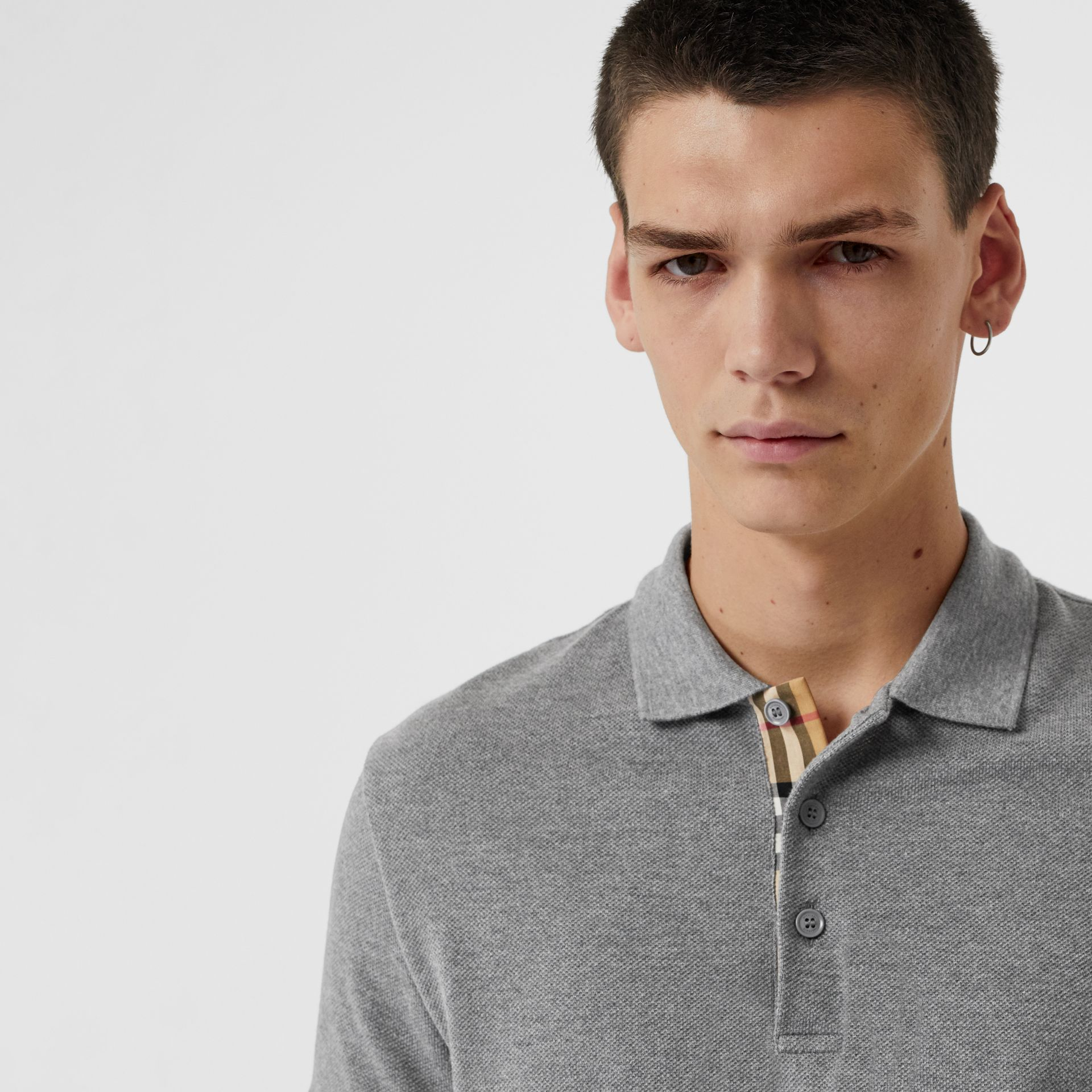 Check Placket Cotton Polo Shirt in Mid Grey Melange - Men | Burberry - gallery image 1
