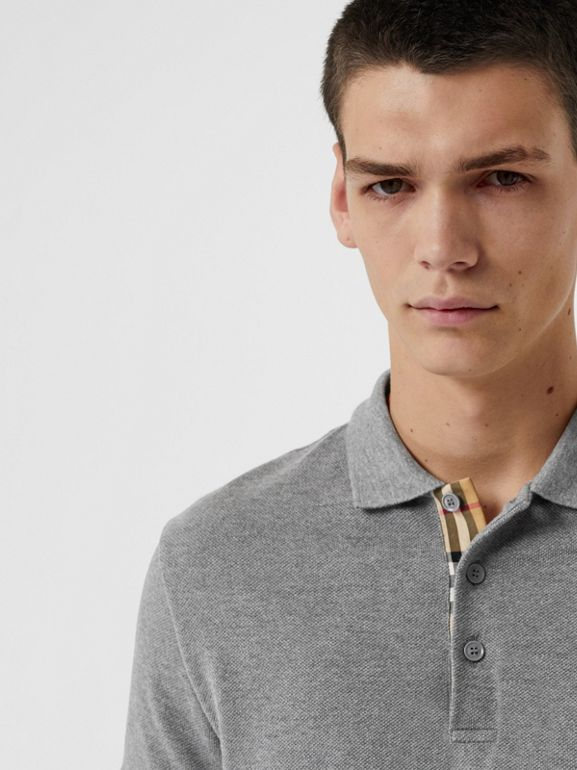 Check Placket Cotton Polo Shirt in Mid Grey Melange - Men | Burberry Australia - cell image 1
