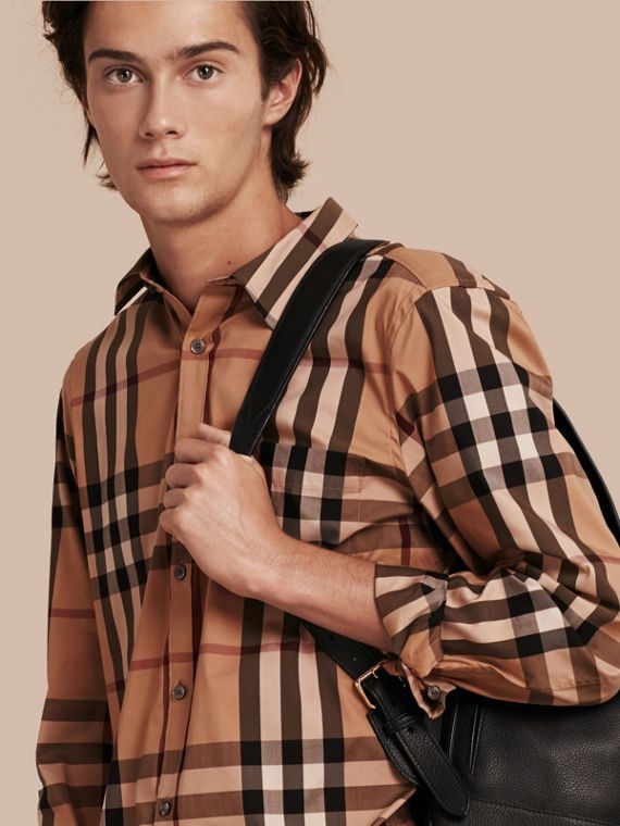 Check Stretch Cotton Shirt in Camel - Men | Burberry