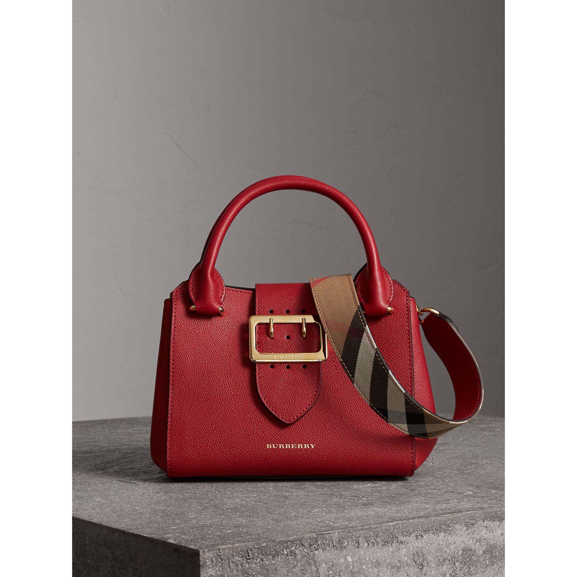 The Small Buckle Tote in Grainy Leather in Parade Red - Women | Burberry - gallery image 0