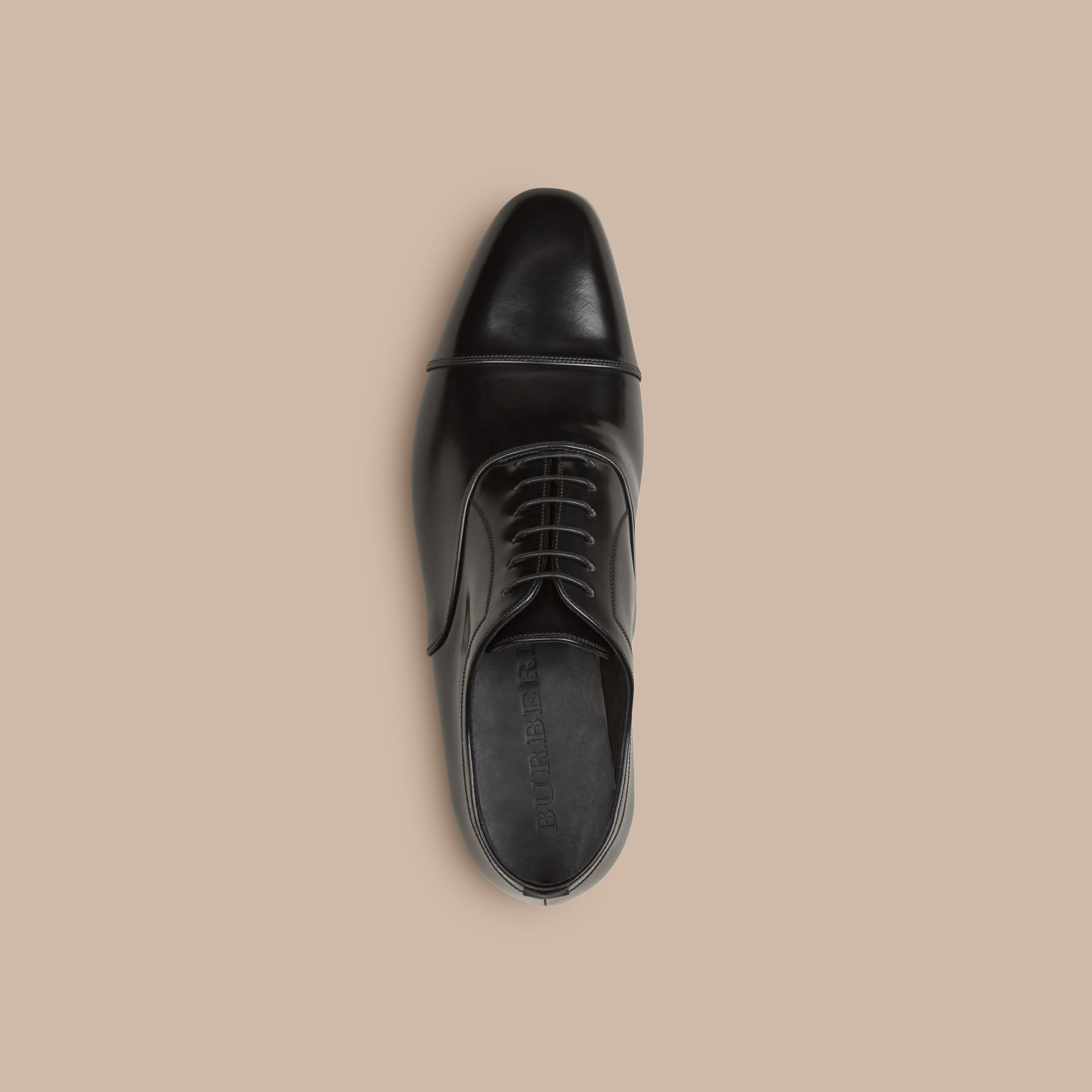 Black Classic Leather Oxford Shoes - gallery image 3