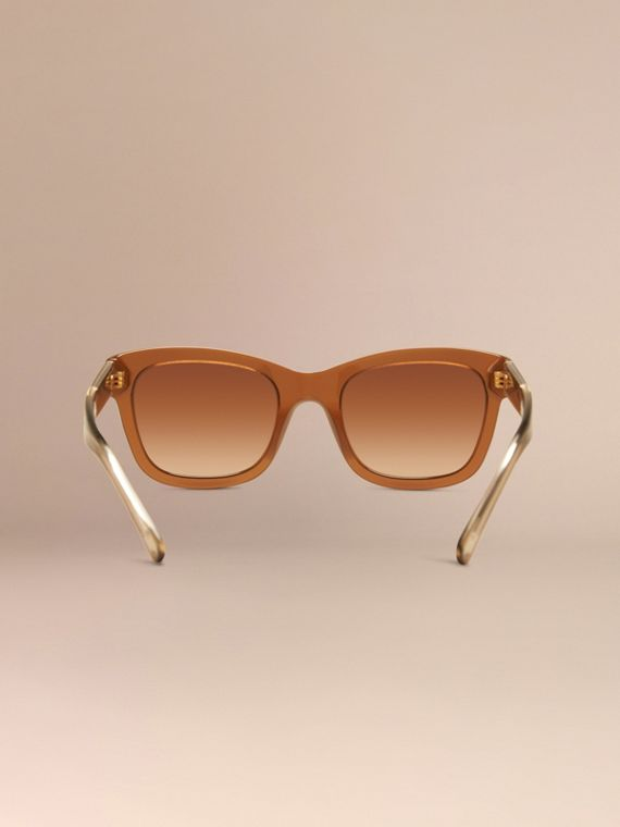 Taupe brown Check Detail Cat-eye Sunglasses Taupe Brown - cell image 3