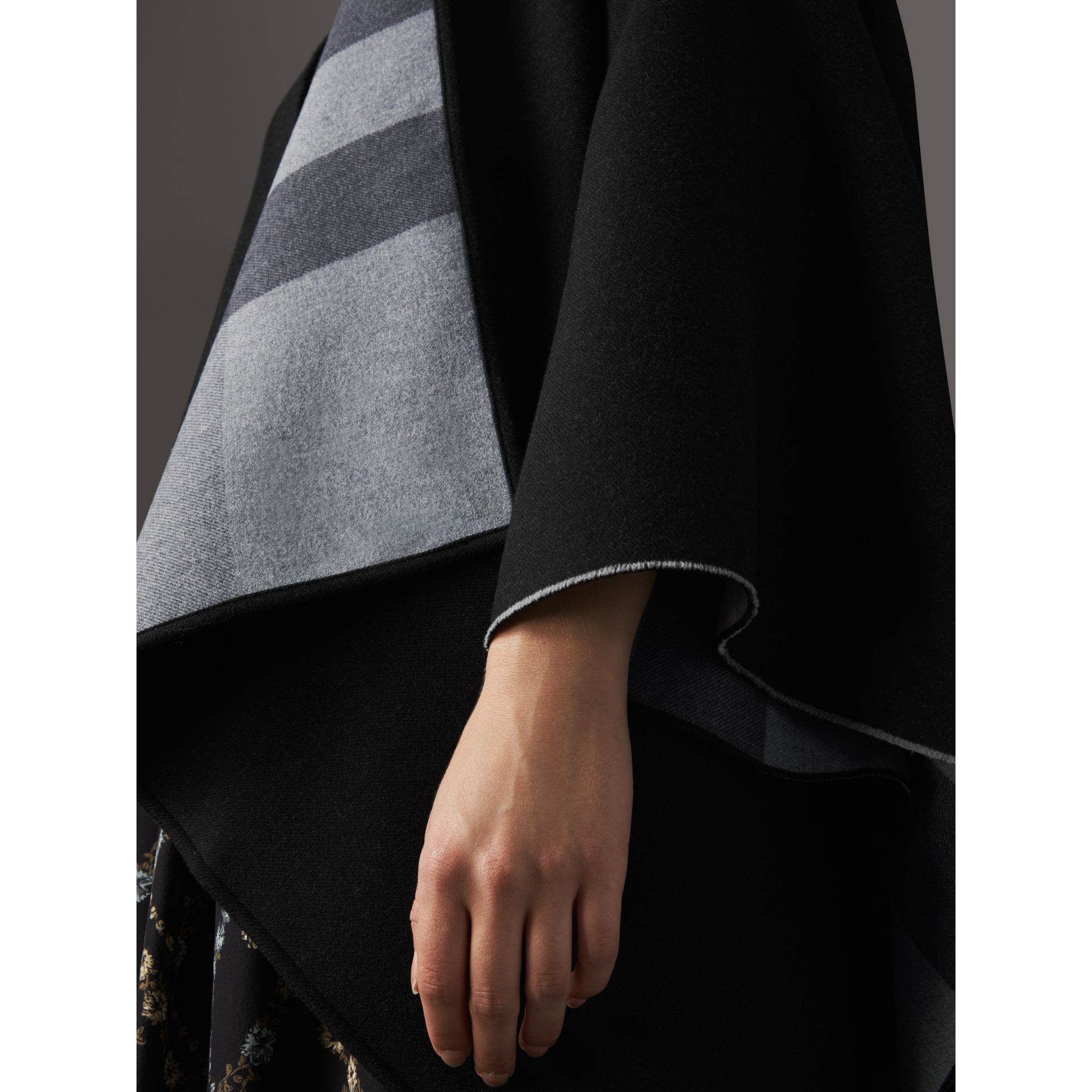 Reversible Check Merino Wool Poncho in Charcoal - Women | Burberry Canada - gallery image 2