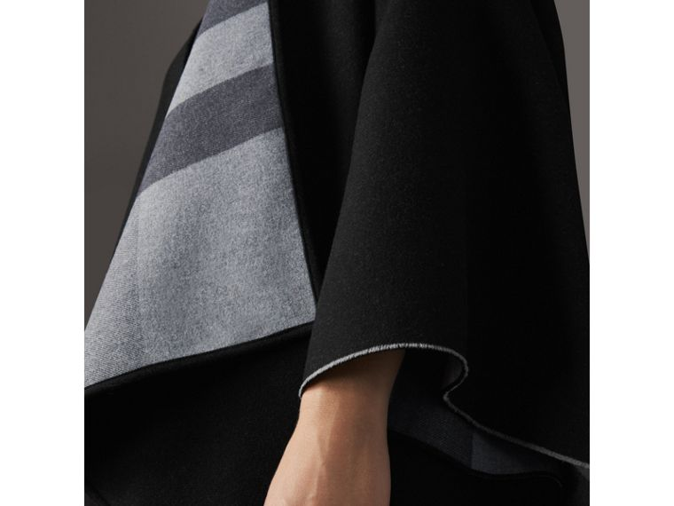 Reversible Check Merino Wool Poncho in Charcoal - Women | Burberry - cell image 1
