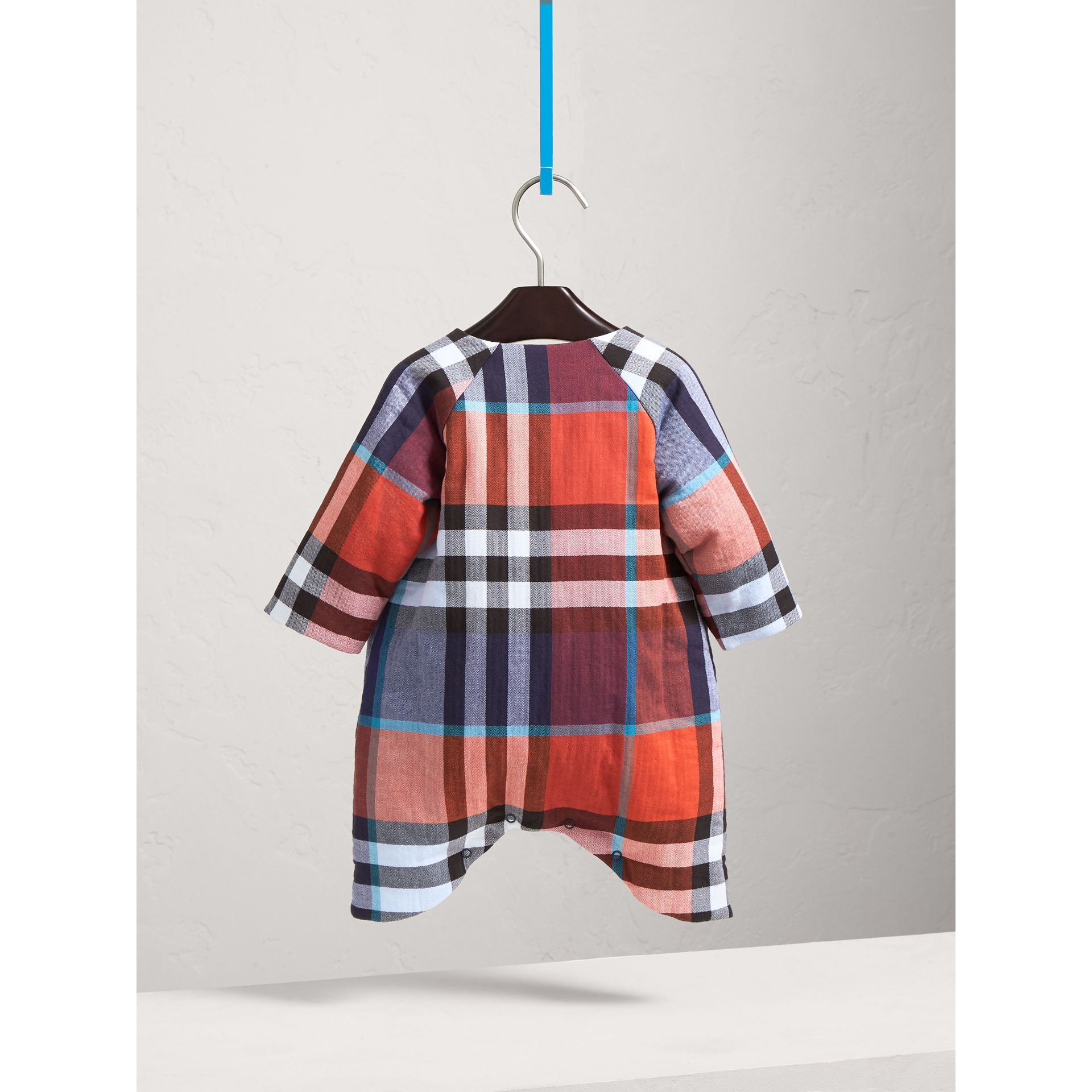 Check Cotton Padded Playsuit | Burberry Hong Kong - gallery image 4
