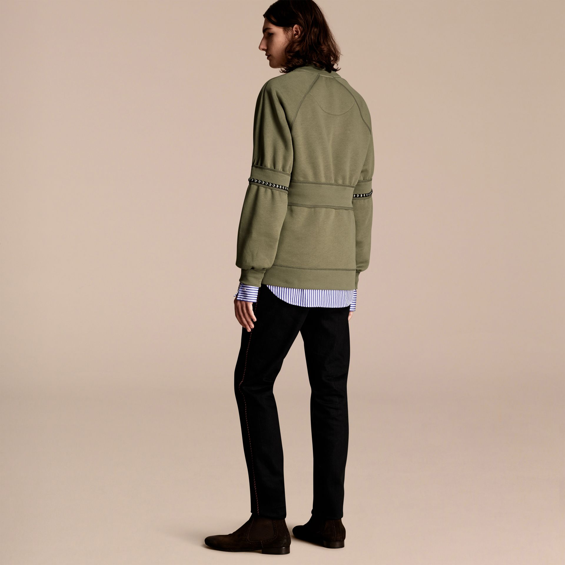 Khaki Puff-sleeved Cotton Blend Jersey Sweatshirt - gallery image 3