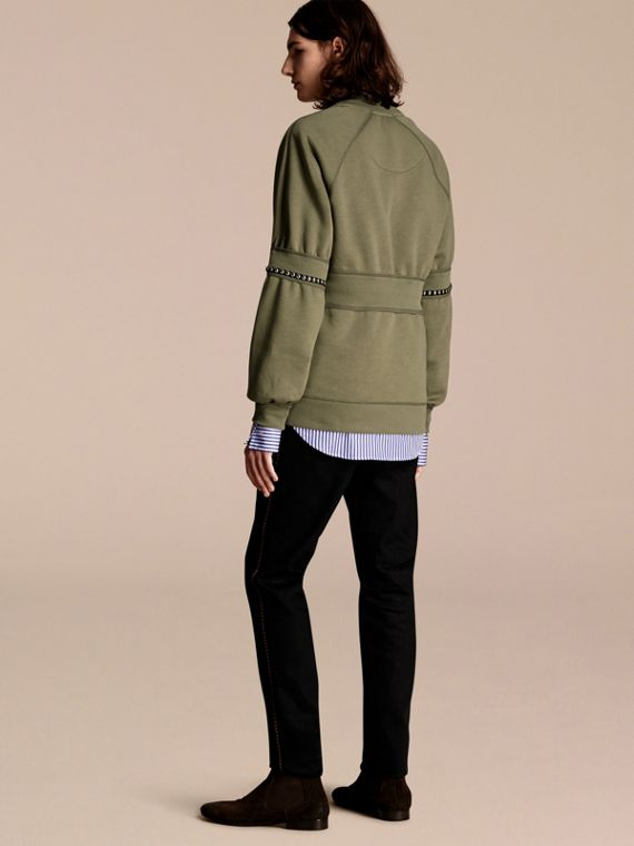 Khaki Puff-sleeved Cotton Blend Jersey Sweatshirt - cell image 2