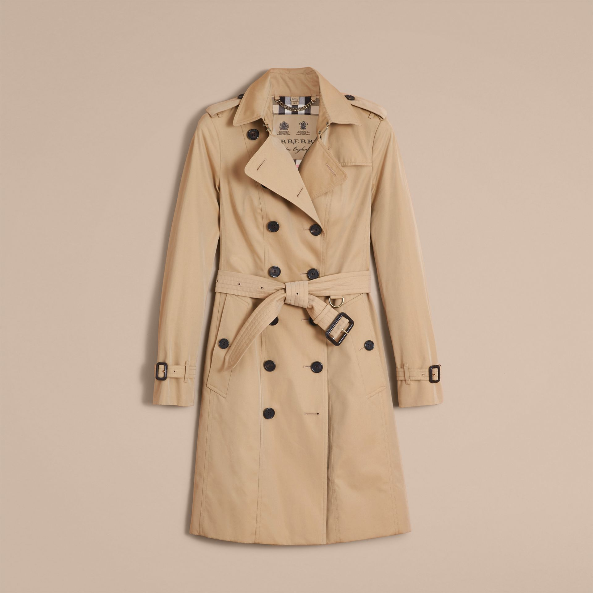 The Sandringham – Long Heritage Trench Coat in Honey - gallery image 4