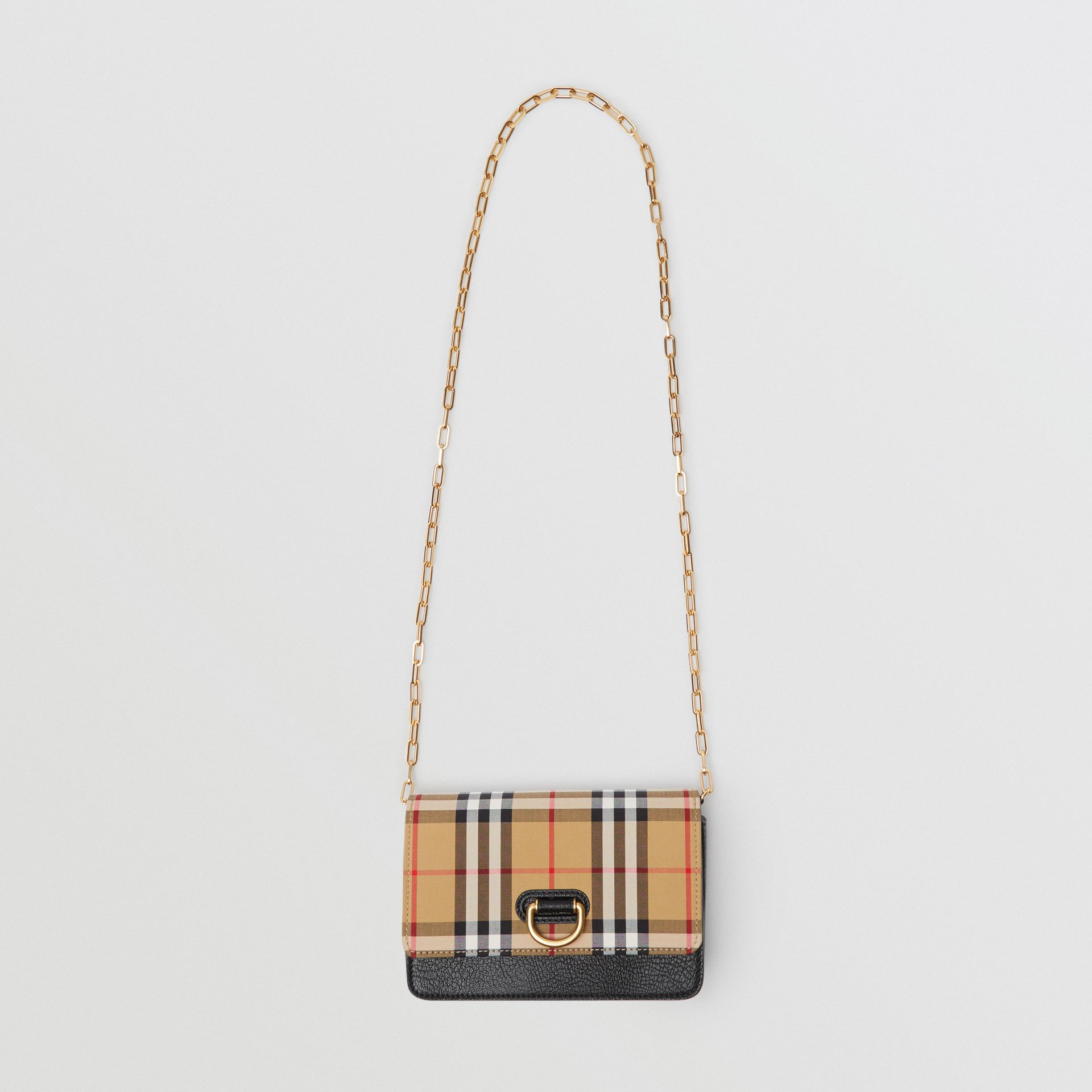 The Mini Vintage Check and Leather D-ring Bag in Black - Women | Burberry Australia - gallery image 3