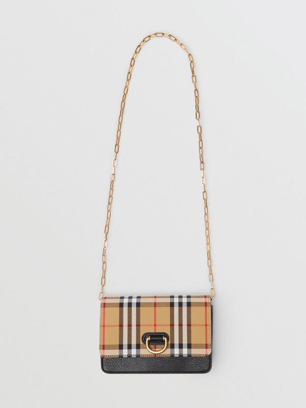 The Mini Vintage Check and Leather D-ring Bag in Black - Women | Burberry Australia - cell image 3