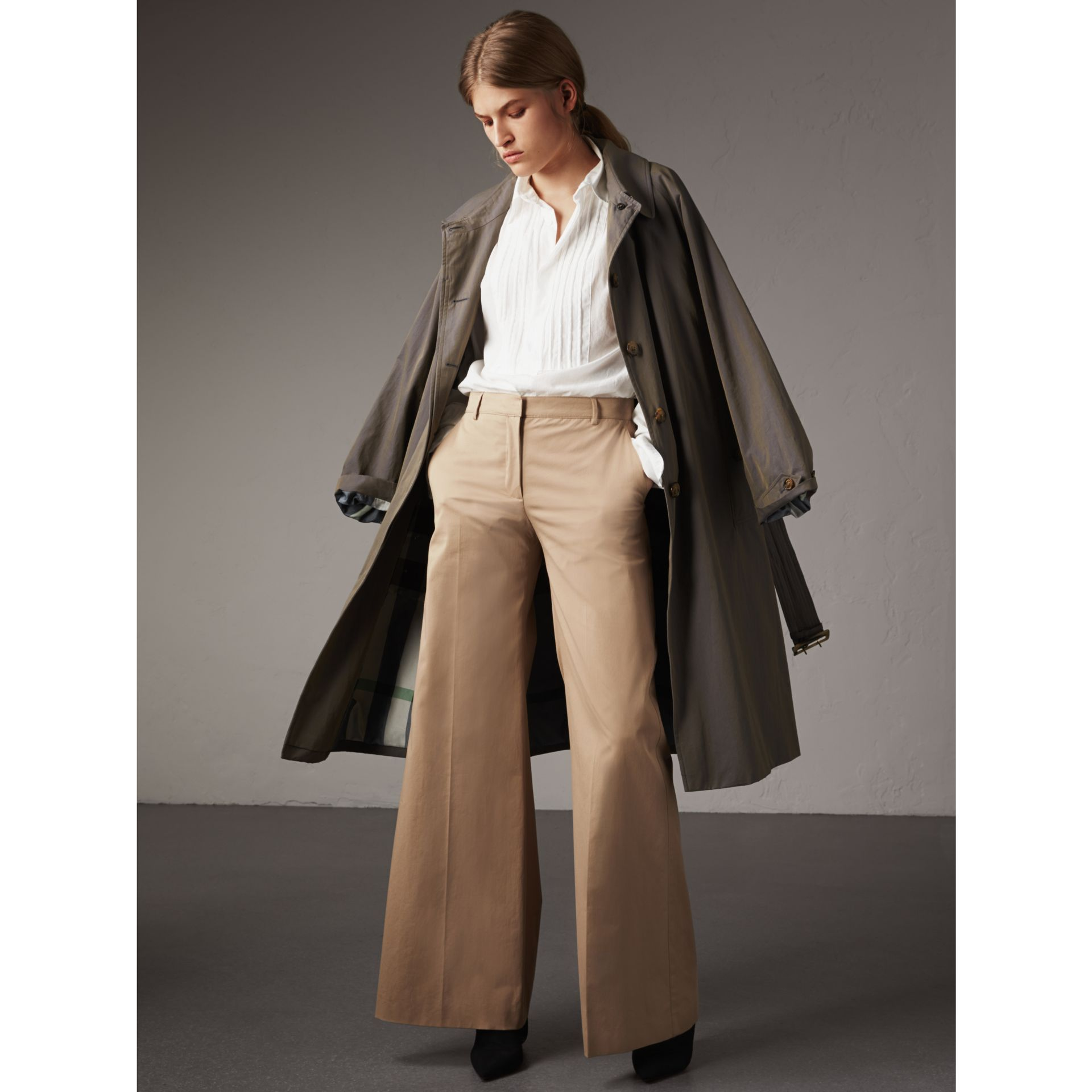 Cotton Twill Wide-leg Trousers in Camel - Women | Burberry - gallery image 1