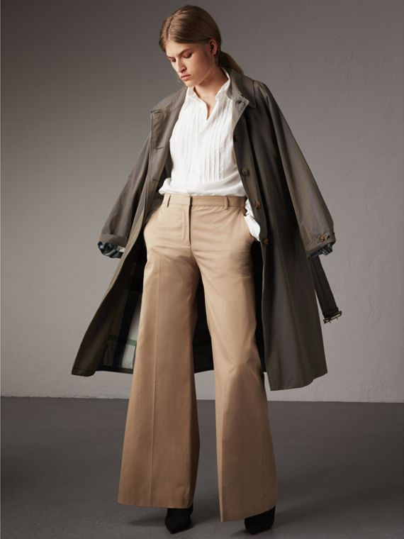 Cotton Twill Wide-leg Trousers in Camel