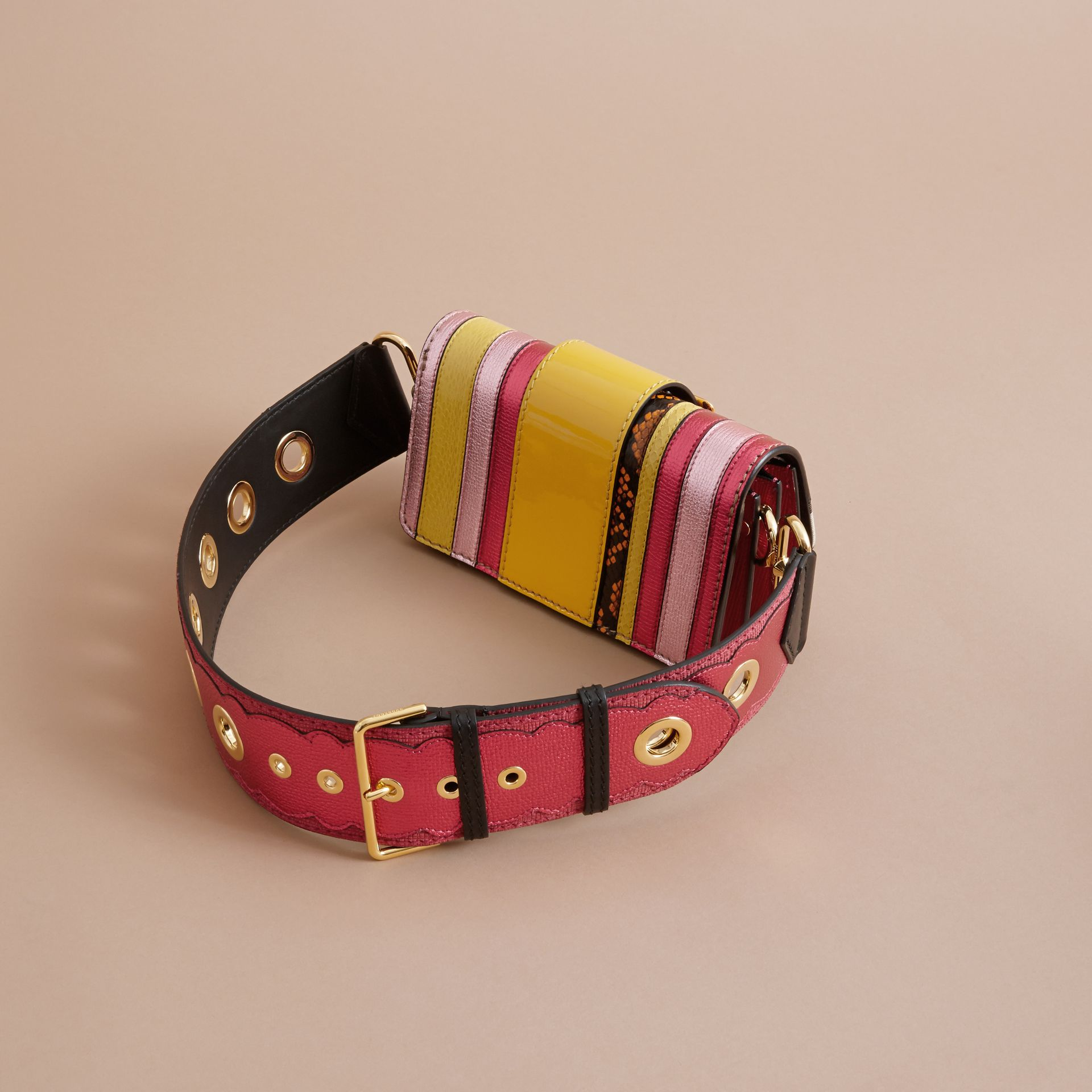 The Small Buckle Bag in House Check and Leather Bright Pink - gallery image 3