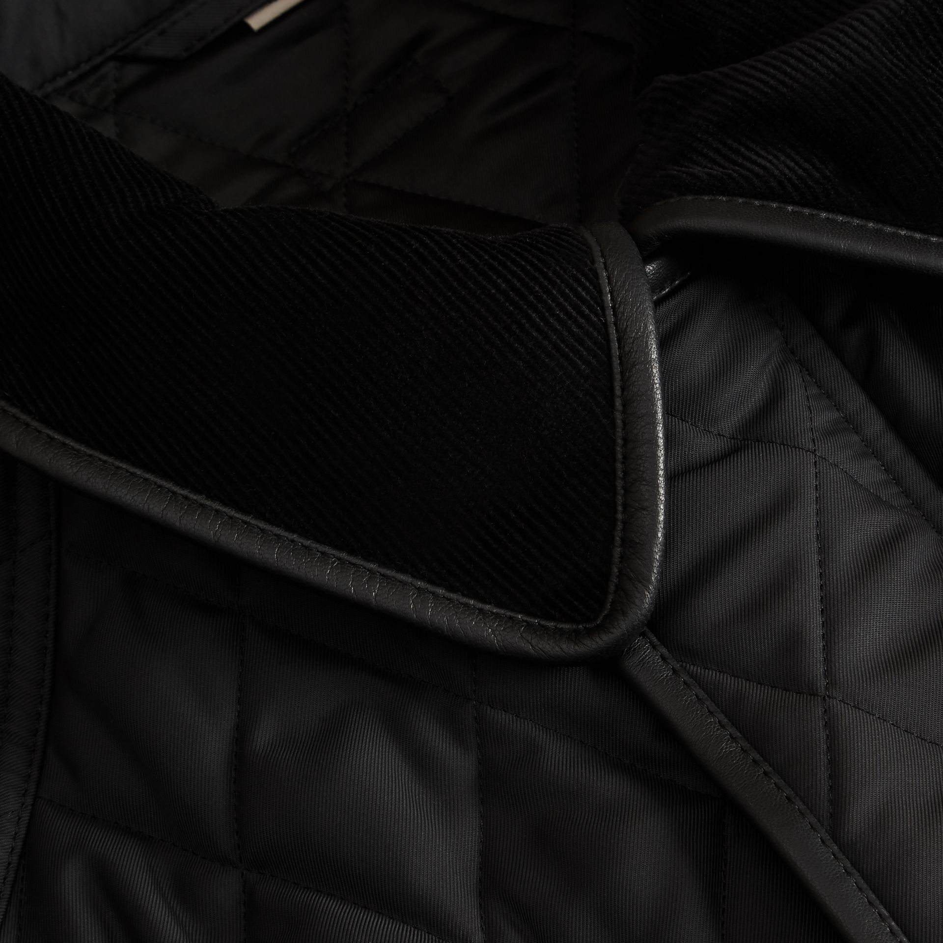 Leather Piping Corduroy Collar Quilted Jacket Black - gallery image 2