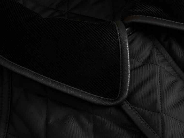 Leather Piping Corduroy Collar Quilted Jacket Black - cell image 1