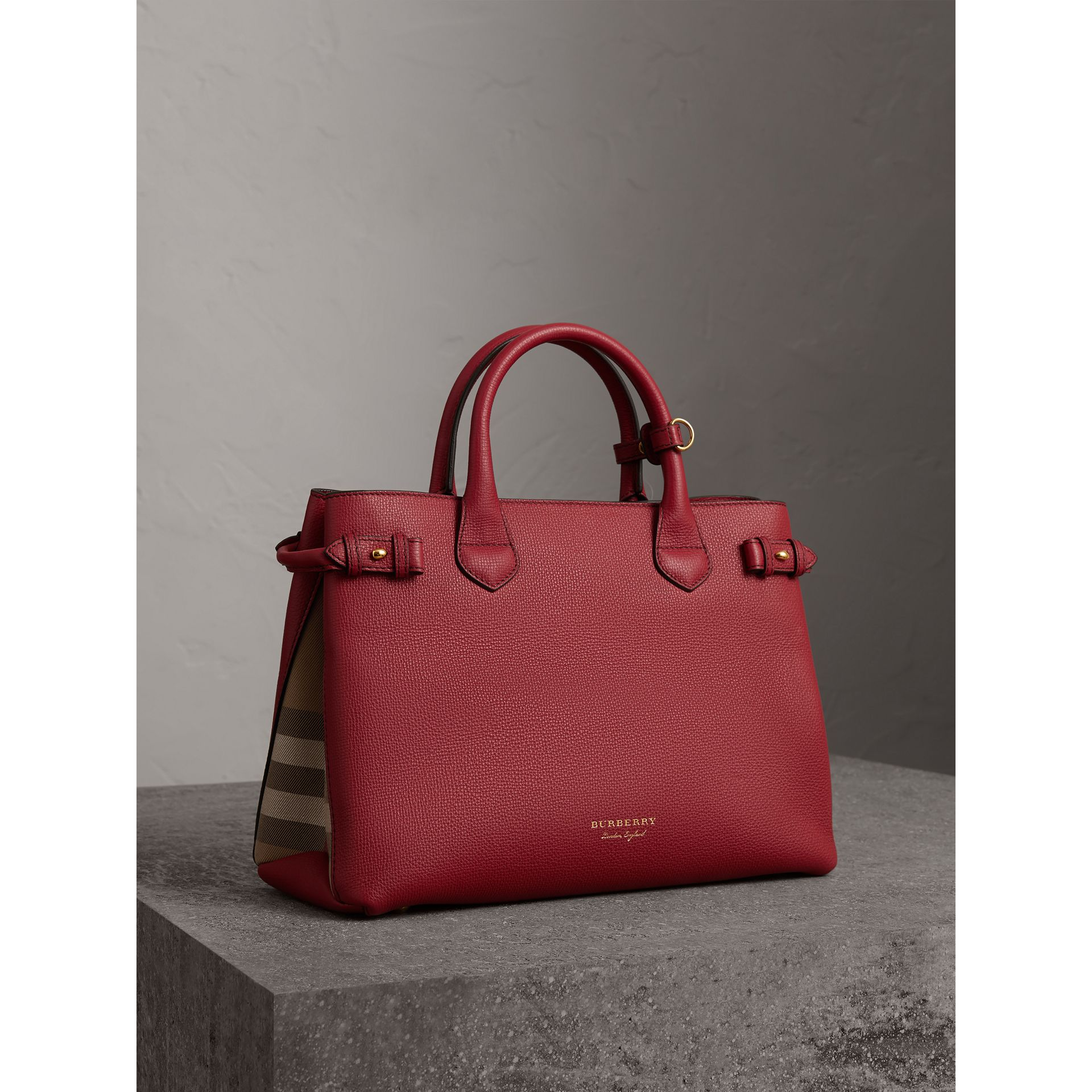 The Medium Banner in Leather and House Check in Russet Red - Women | Burberry Singapore - gallery image 0