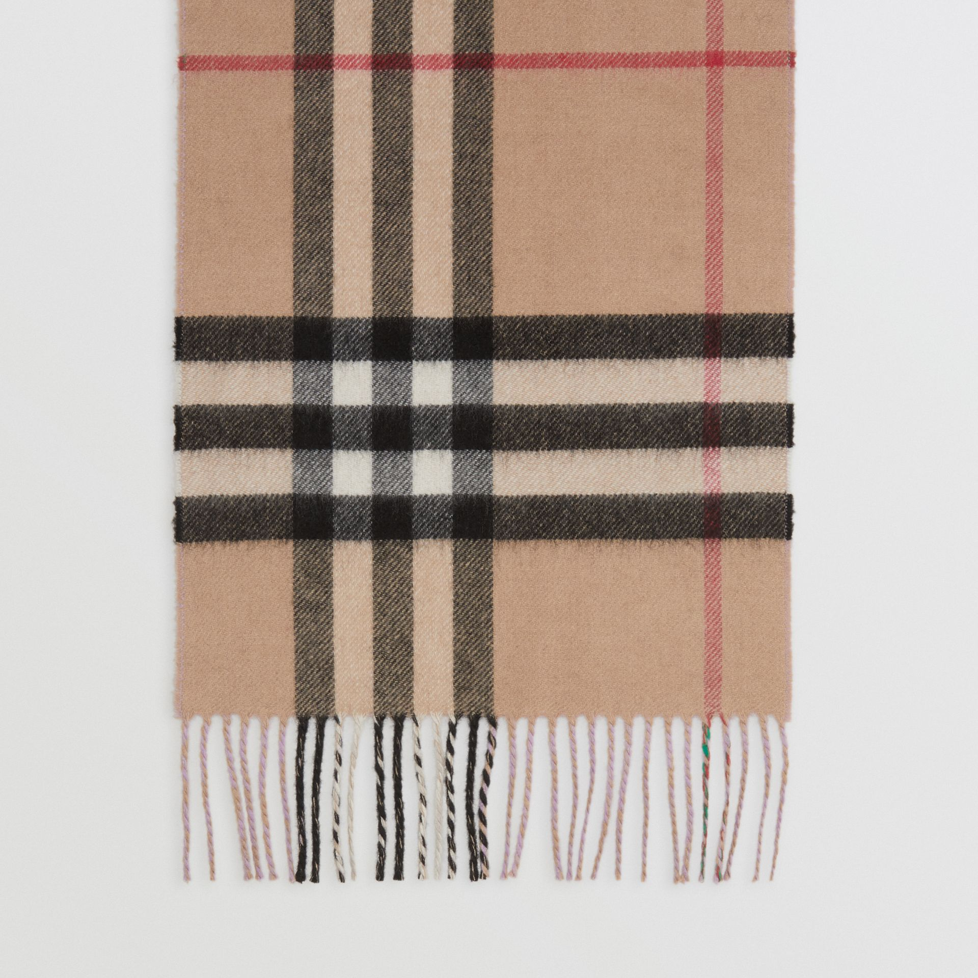 Long Reversible Check Double-faced Cashmere Scarf in Pale Heather | Burberry - gallery image 4