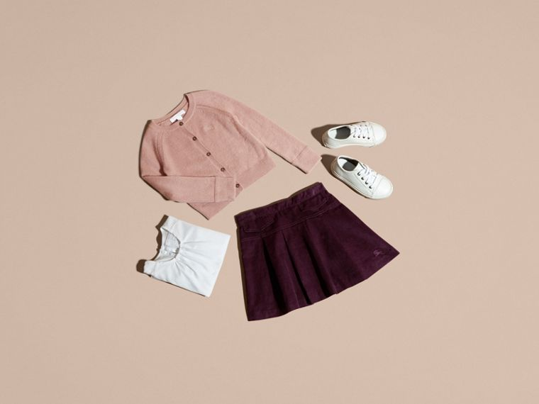 Blackcurrant Pleated Cotton Corduroy Skirt - cell image 4