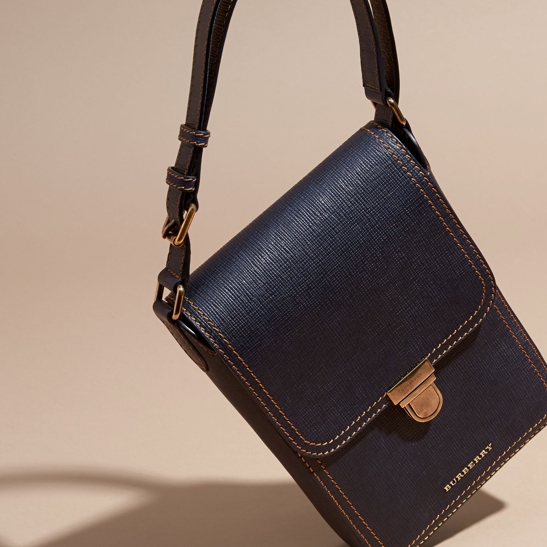 Dark navy The Small Satchel in Textured Leather - gallery image 7