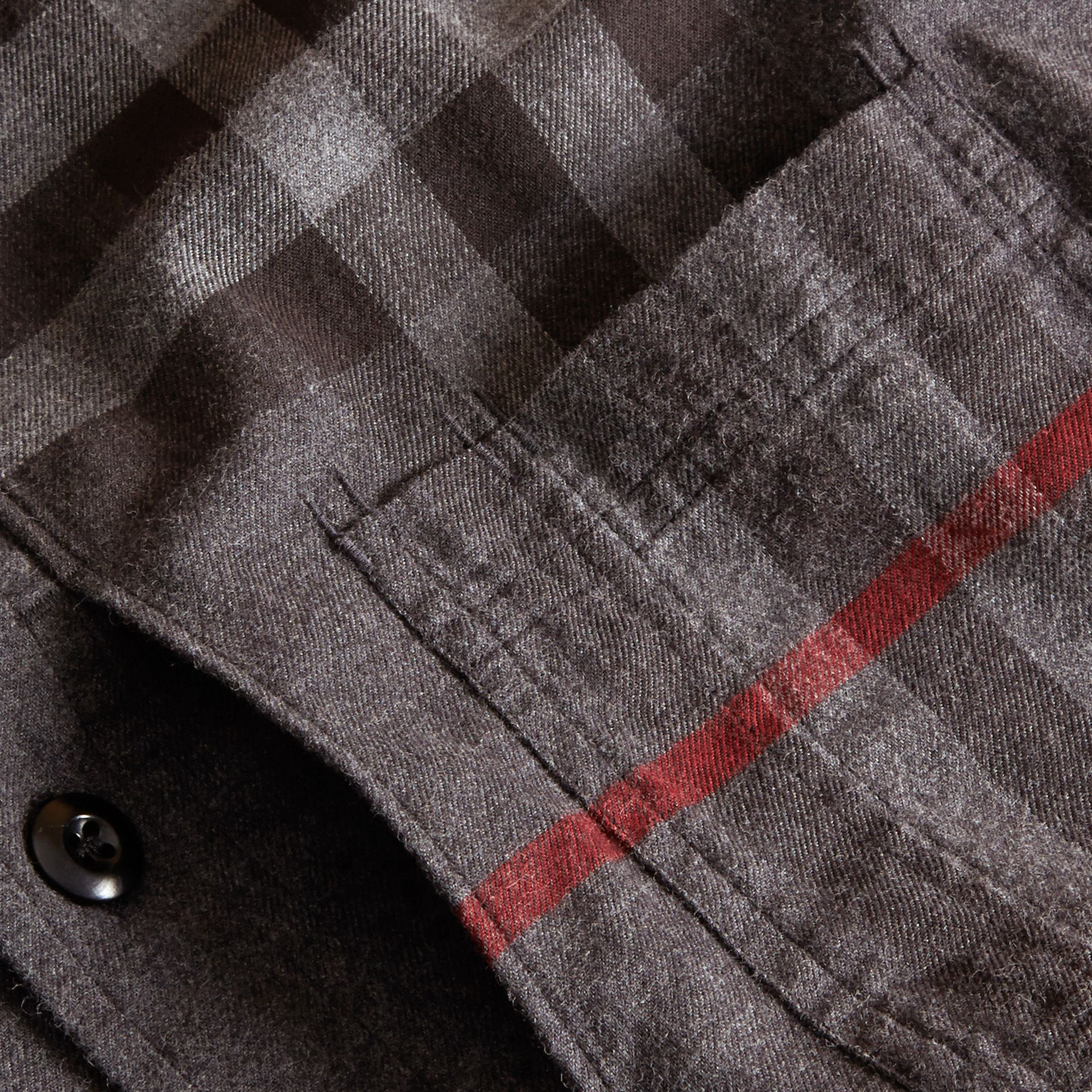 Charcoal melange Check Detail Cotton Flannel Shirt Charcoal Melange - gallery image 2