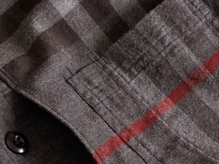 Charcoal melange Check Detail Cotton Flannel Shirt Charcoal Melange - cell image 1