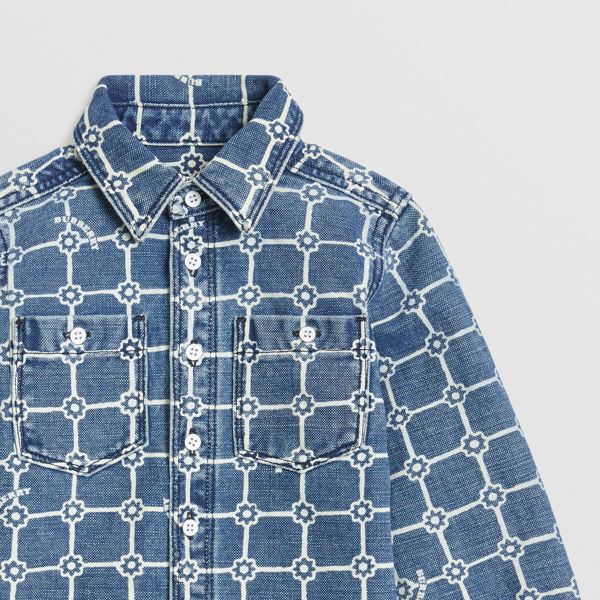 Flower Print Cotton Linen Shirt in Indigo | Burberry United States - gallery image 4
