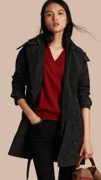Trench-coat en taffetas à capuche amovible