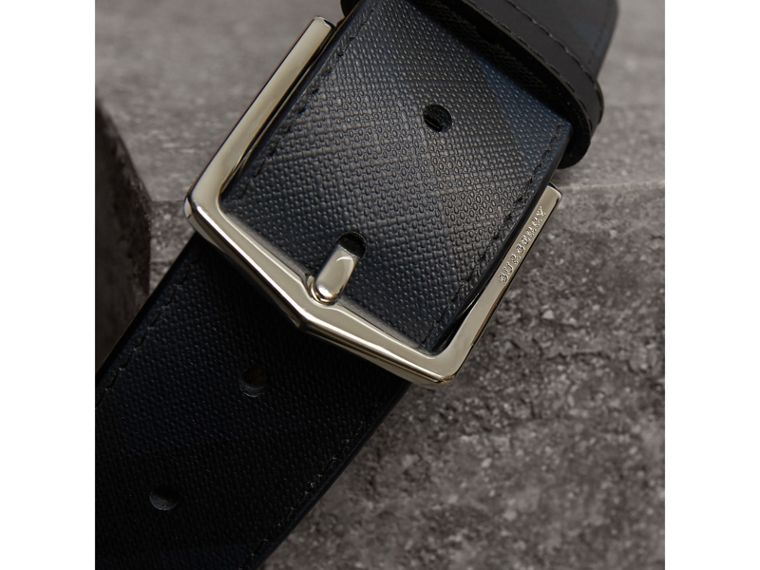 Leather Trim London Check Belt in Charcoal/black - Men | Burberry - cell image 1