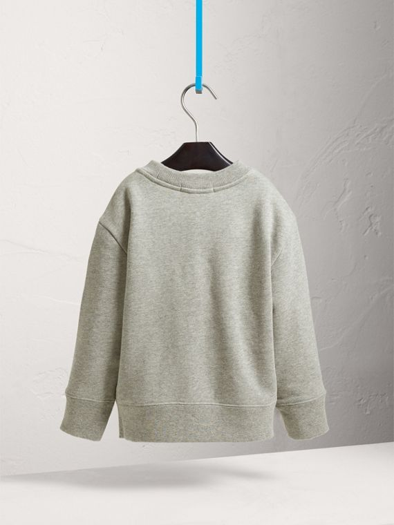 Beasts Print Cotton Sweatshirt in Grey Melange - Girl | Burberry - cell image 3