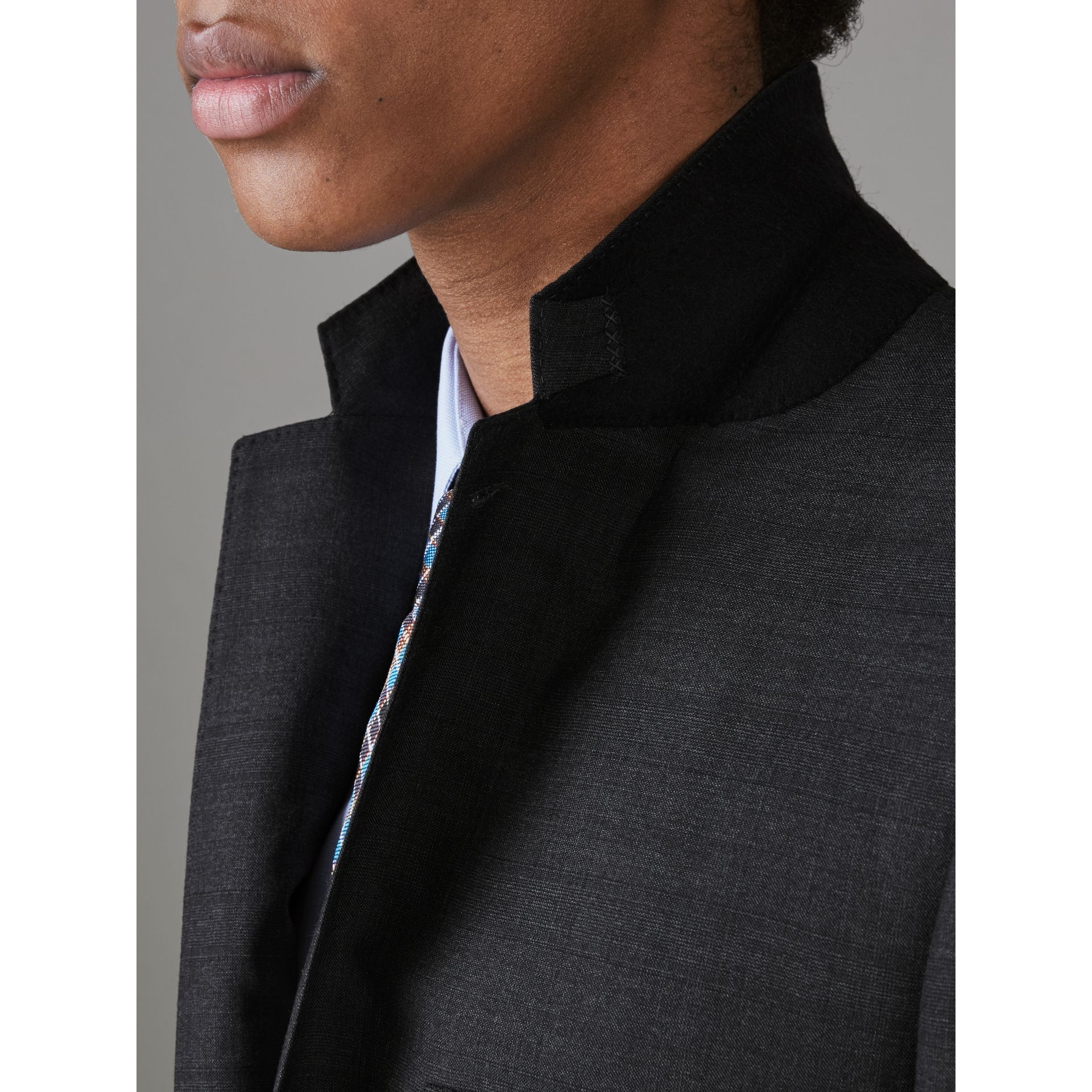 Slim Fit Prince of Wales Check Wool Silk Suit in Charcoal Melange - Men | Burberry - gallery image 1