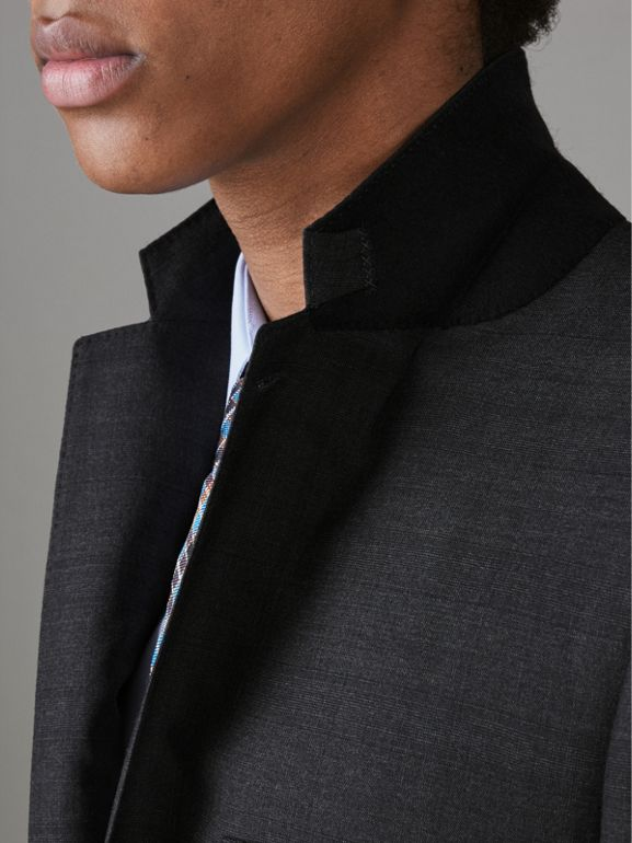 Slim Fit Prince of Wales Check Wool Silk Suit in Charcoal Melange - Men | Burberry United Kingdom - cell image 1