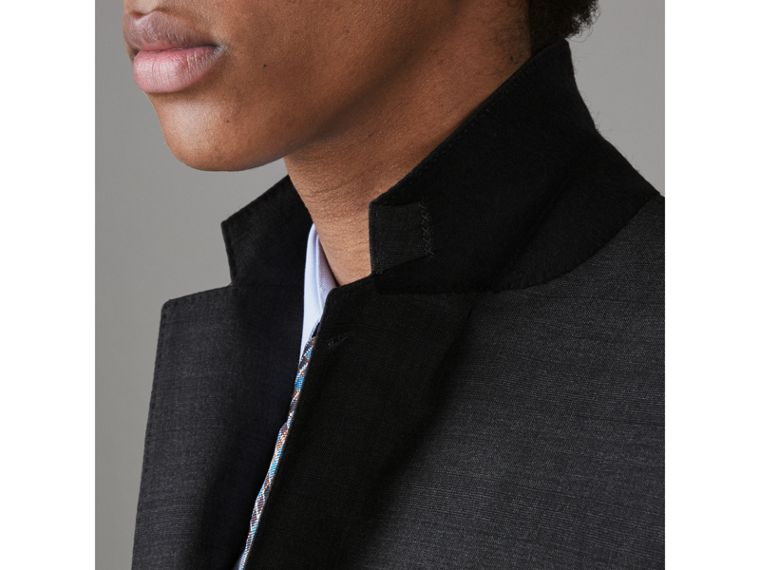 Slim Fit Prince of Wales Wool Silk Suit in Charcoal Melange - Men | Burberry United Kingdom - cell image 1
