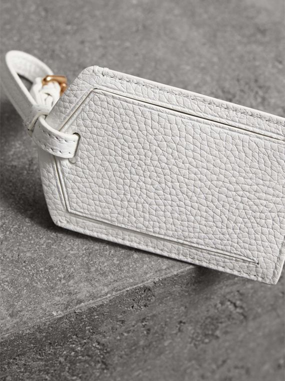 Grainy Leather Luggage Tag in Chalk White | Burberry - cell image 2