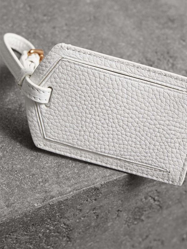 Grainy Leather Luggage Tag in Chalk White | Burberry Canada - cell image 2