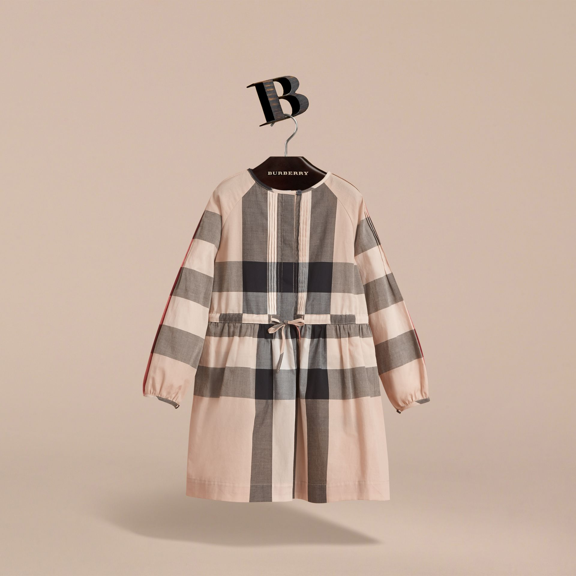 Collarless Check Drawcord Cotton Voile Dress in New Classic - Girl | Burberry Canada - gallery image 3